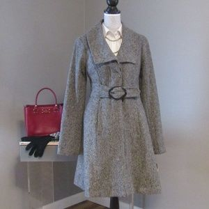 NEW A. Byer Gray Tweed Trench Coat Size L
